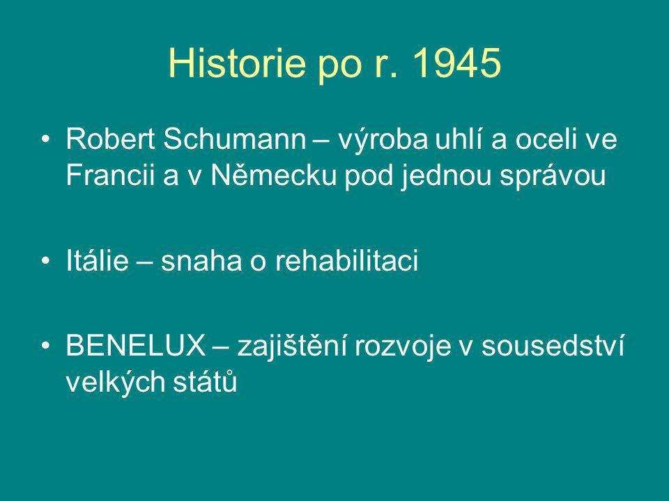 Historie po r. 1945 Robert Schumann – výroba uhlí a oceli ve Francii a v Německu pod jednou správou Itálie – snaha o rehabilitaci BENELUX – zajištění