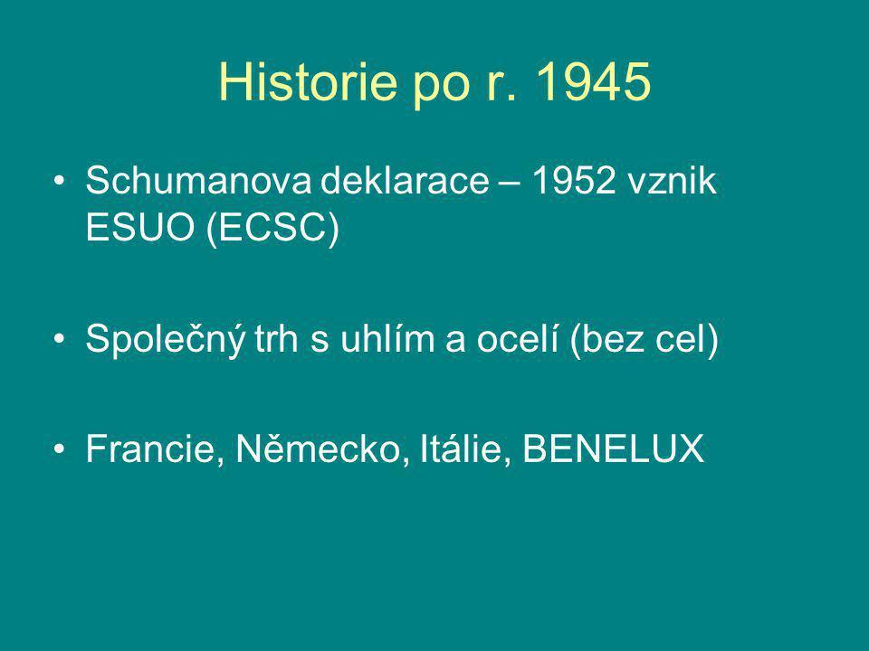 Historie po r. 1945 Schumanova deklarace – 1952 vznik ESUO (ECSC) Společný trh s uhlím a ocelí (bez cel) Francie, Německo, Itálie, BENELUX