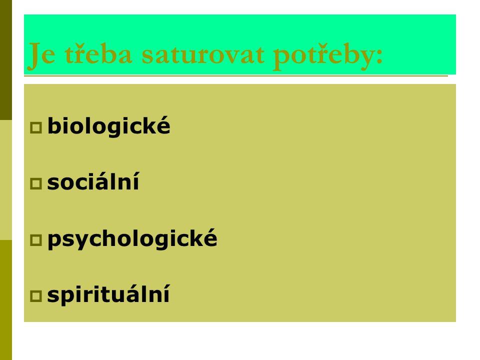 Je třeba saturovat potřeby:  biologické  sociální  psychologické  spirituální