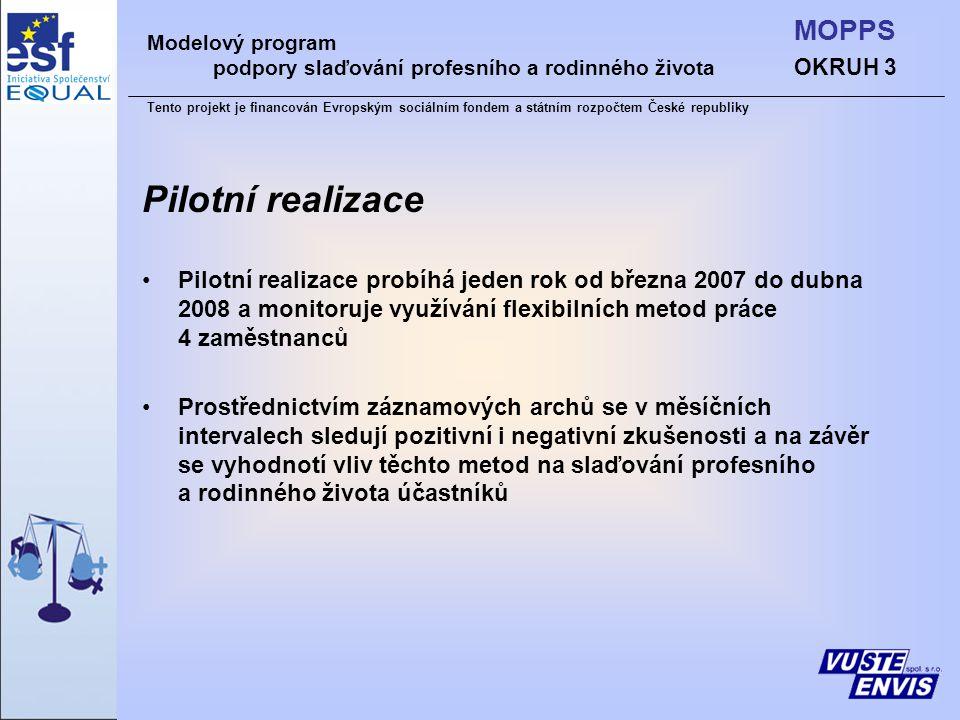 Pilotní realizace Pilotní realizace probíhá jeden rok od března 2007 do dubna 2008 a monitoruje využívání flexibilních metod práce 4 zaměstnanců Prostřednictvím záznamových archů se v měsíčních intervalech sledují pozitivní i negativní zkušenosti a na závěr se vyhodnotí vliv těchto metod na slaďování profesního a rodinného života účastníků Modelový program podpory slaďování profesního a rodinného života Tento projekt je financován Evropským sociálním fondem a státním rozpočtem České republiky OKRUH 3 MOPPS