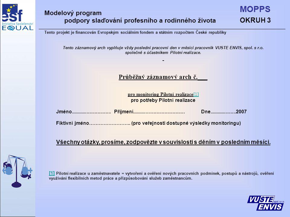 OKRUH 3 MOPPS Modelový program podpory slaďování profesního a rodinného života Tento projekt je financován Evropským sociálním fondem a státním rozpočtem České republiky Tento záznamový arch vyplňuje vždy poslední pracovní den v měsíci pracovník VUSTE ENVIS, spol.
