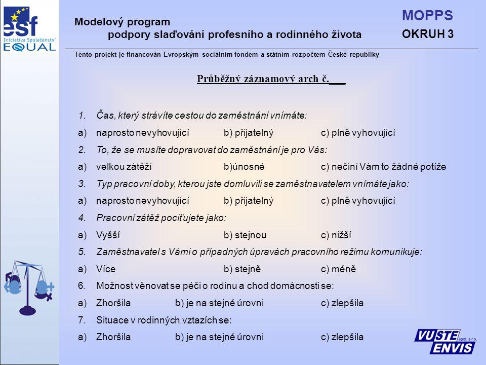 OKRUH 3 MOPPS Modelový program podpory slaďování profesního a rodinného života Tento projekt je financován Evropským sociálním fondem a státním rozpočtem České republiky Průběžný záznamový arch č.___ 1.Čas, který strávíte cestou do zaměstnání vnímáte: a)naprosto nevyhovujícíb) přijatelnýc) plně vyhovující 2.To, že se musíte dopravovat do zaměstnání je pro Vás: a)velkou zátěžíb)únosnéc) nečiní Vám to žádné potíže 3.Typ pracovní doby, kterou jste domluvili se zaměstnavatelem vnímáte jako: a)naprosto nevyhovujícíb) přijatelnýc) plně vyhovující 4.Pracovní zátěž pociťujete jako: a)Vyššíb) stejnouc) nižší 5.Zaměstnavatel s Vámi o případných úpravách pracovního režimu komunikuje: a)Víceb) stejněc) méně 6.Možnost věnovat se péči o rodinu a chod domácnosti se: a)Zhoršilab) je na stejné úrovnic) zlepšila 7.Situace v rodinných vztazích se: a)Zhoršilab) je na stejné úrovnic) zlepšila