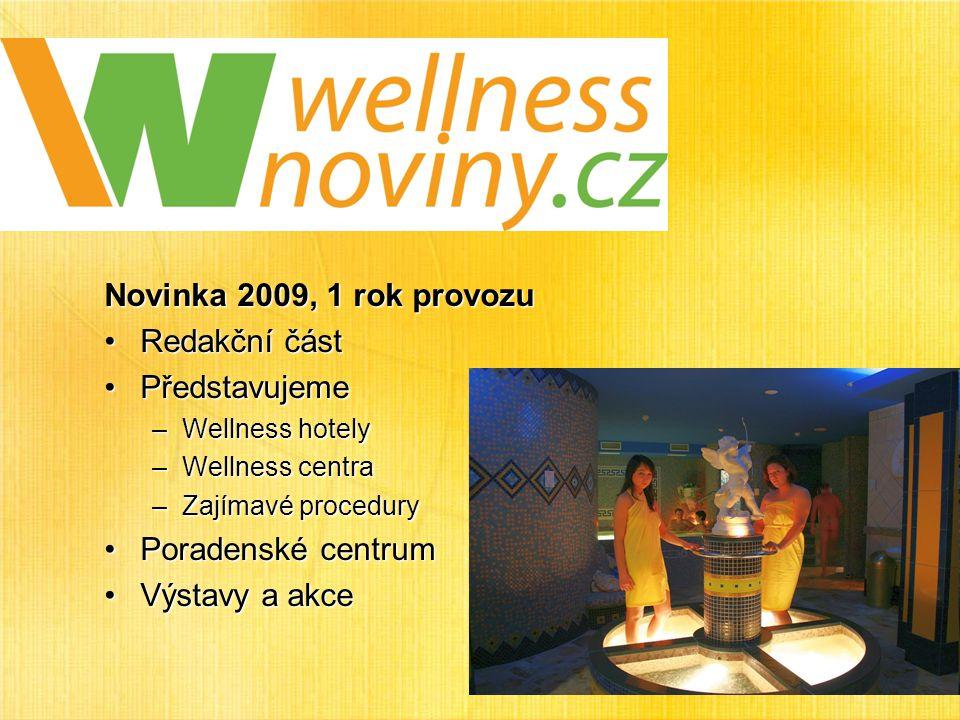 Novinka 2009, 1 rok provozu Redakční částRedakční část PředstavujemePředstavujeme –Wellness hotely –Wellness centra –Zajímavé procedury Poradenské centrumPoradenské centrum Výstavy a akceVýstavy a akce