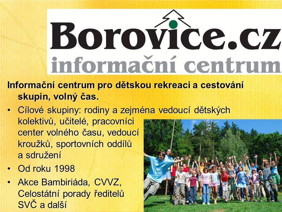 Informační centrum pro dětskou rekreaci a cestování skupin, volný čas.