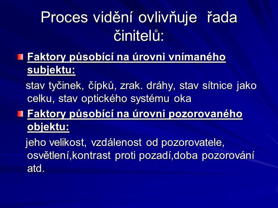 Proces vidění ovlivňuje řada činitelů: Faktory působící na úrovni vnímaného subjektu: stav tyčinek, čípků, zrak. dráhy, stav sítnice jako celku, stav