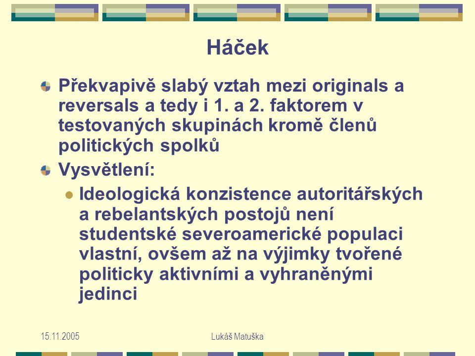 15.11.2005Lukáš Matuška Háček Překvapivě slabý vztah mezi originals a reversals a tedy i 1.