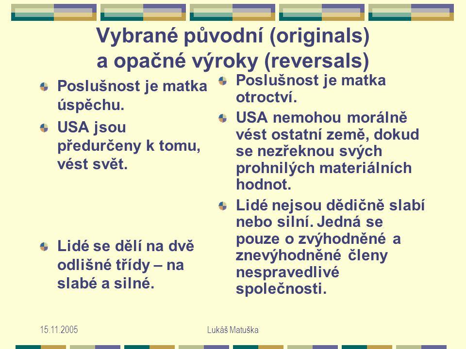 15.11.2005Lukáš Matuška Vybrané původní (originals) a opačné výroky (reversals) Poslušnost je matka úspěchu.