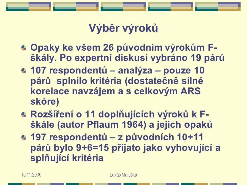 15.11.2005Lukáš Matuška Výběr výroků Opaky ke všem 26 původním výrokům F- škály.