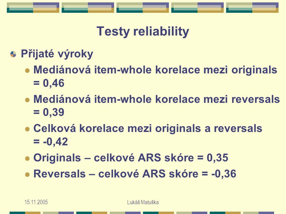 15.11.2005Lukáš Matuška Testy reliability Přijaté výroky Mediánová item-whole korelace mezi originals = 0,46 Mediánová item-whole korelace mezi reversals = 0,39 Celková korelace mezi originals a reversals = -0,42 Originals – celkové ARS skóre = 0,35 Reversals – celkové ARS skóre = -0,36