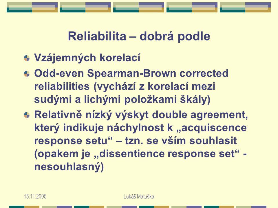 """15.11.2005Lukáš Matuška Reliabilita – dobrá podle Vzájemných korelací Odd-even Spearman-Brown corrected reliabilities (vychází z korelací mezi sudými a lichými položkami škály) Relativně nízký výskyt double agreement, který indikuje náchylnost k """"acquiscence response setu – tzn."""