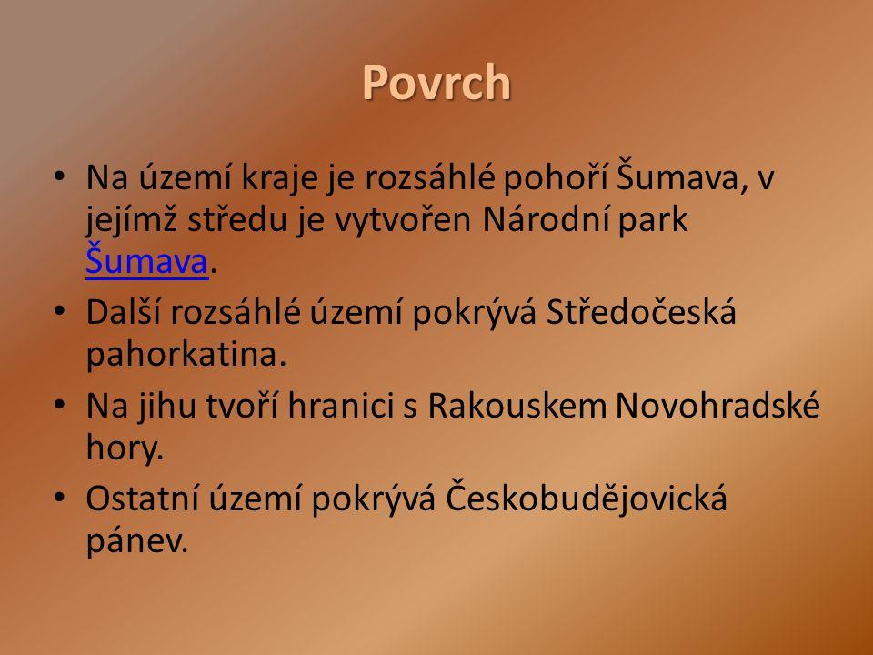 Povrch Na území kraje je rozsáhlé pohoří Šumava, v jejímž středu je vytvořen Národní park Šumava. Šumava Další rozsáhlé území pokrývá Středočeská paho