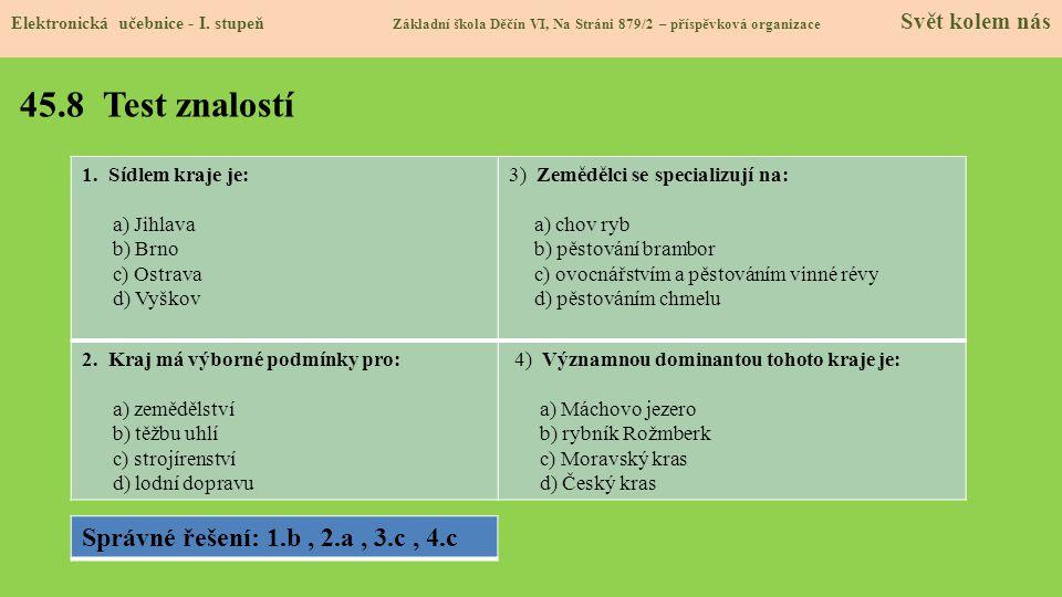 45.8 Test znalostí Elektronická učebnice - I.