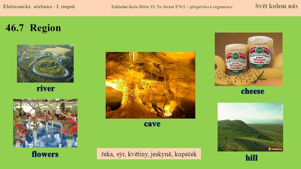 46.7 Region Elektronická učebnice - I. stupeň Základní škola Děčín VI, Na Stráni 879/2 – příspěvková organizace Svět kolem nás řeka, sýr, květiny, jes