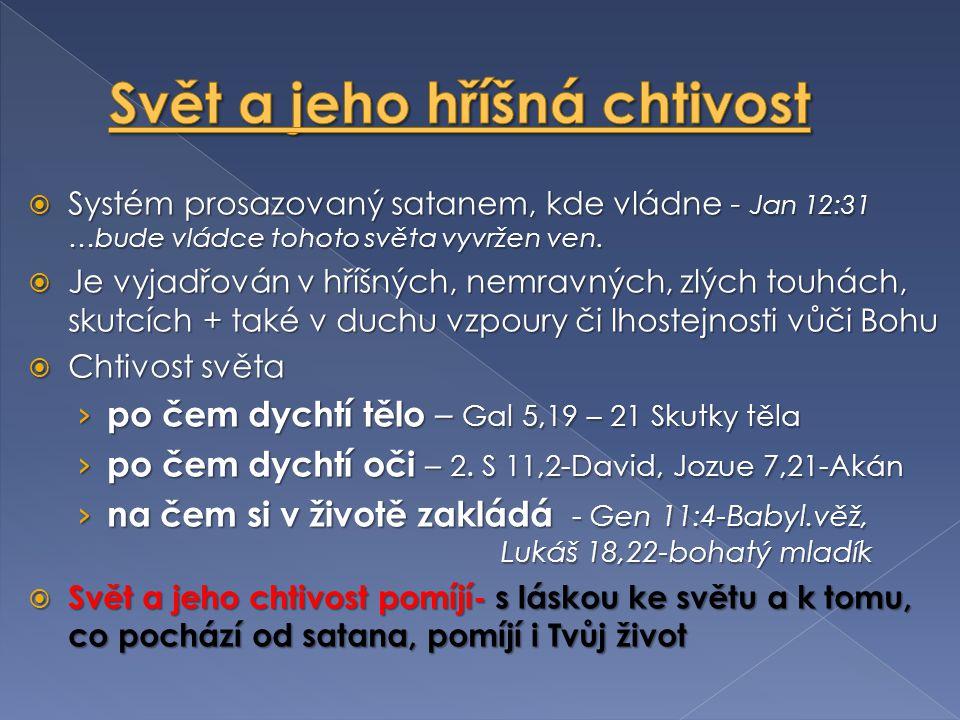  Systém prosazovaný satanem, kde vládne - Jan 12:31 …bude vládce tohoto světa vyvržen ven.