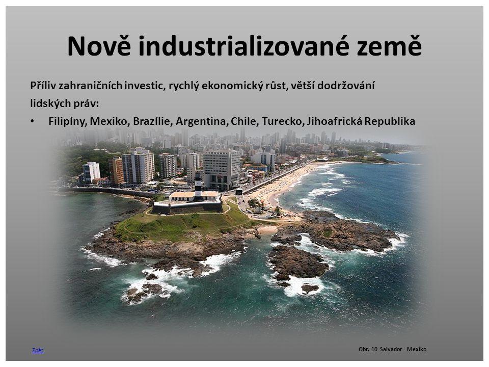 Nově industrializované země Příliv zahraničních investic, rychlý ekonomický růst, větší dodržování lidských práv: Filipíny, Mexiko, Brazílie, Argentin