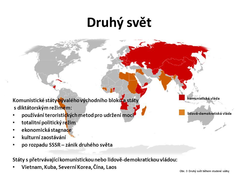 """Třetí svět Od konce 50-tých let výraz používán pro země Jižní Ameriky, Afriky, Asie a Oceánie, nazývané také """"G77 nebo-li """"země Jihu : ekonomicky málo rozvinuté těžký průmysl a rostoucí znečištěnírostoucí znečištění vysoká populace (např."""