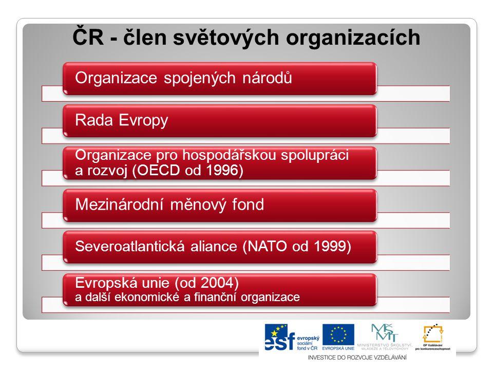 ČR - člen světových organizacích Organizace spojených národůRada Evropy Organizace pro hospodářskou spolupráci a rozvoj (OECD od 1996) Mezinárodní měn