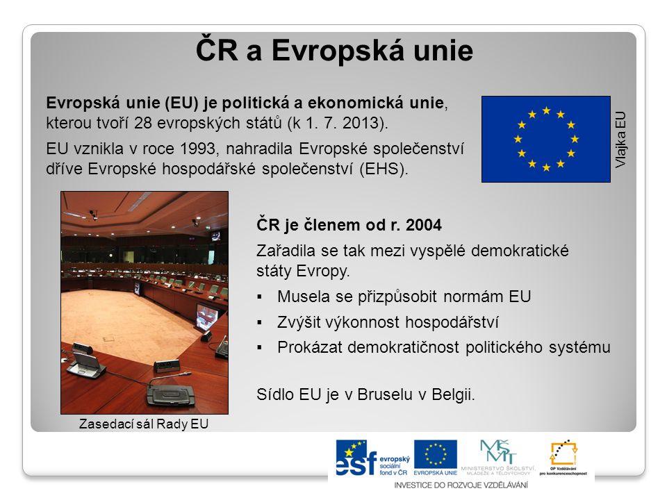 ČR a Evropská unie ČR je členem od r. 2004 Zařadila se tak mezi vyspělé demokratické státy Evropy. ▪Musela se přizpůsobit normám EU ▪Zvýšit výkonnost