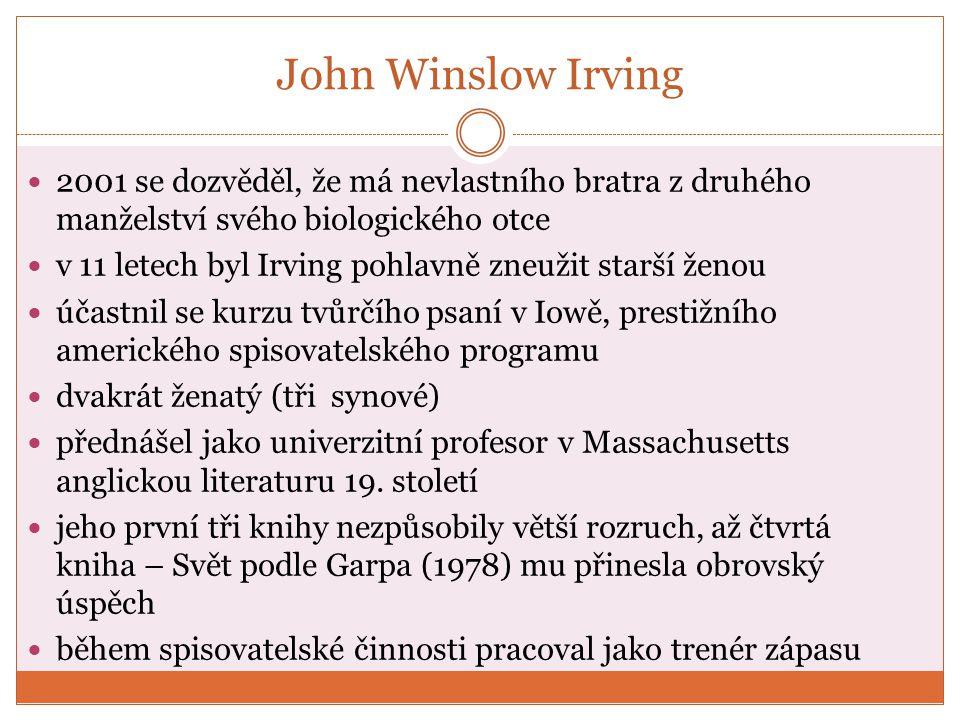 John Irving - dílo Svoboda medvědům (1969) Pitná kúra (1972) Svět podle Garpa (1978) Hotel New Hampshire (1981) Pravidla moštárny (1985) Imaginární přítelkyně (1996) Čtvrtá ruka (2001) Dokud tě nenajdu (2005) Obr.