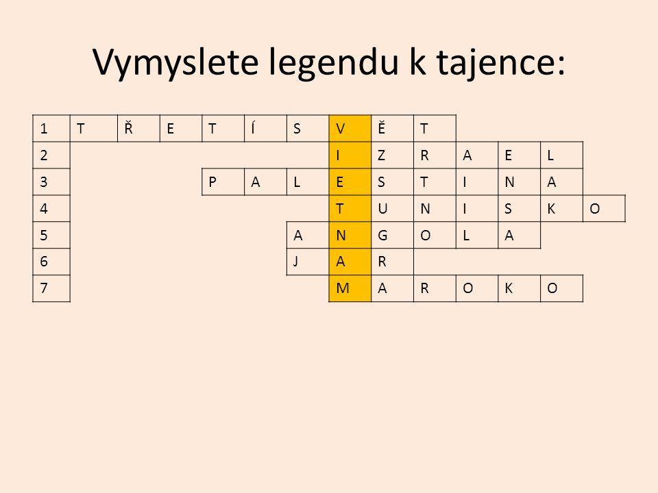 Vymyslete legendu k tajence: 1TŘETÍSVĚT 2IZRAEL 3PALESTINA 4TUNISKO 5ANGOLA 6JAR 7MAROKO