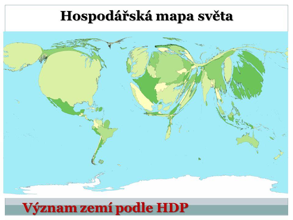 Hospodářská mapa světa Význam zemí podle HDP