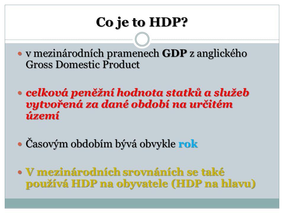 Co je to HDP? v mezinárodních pramenech GDP z anglického Gross Domestic Product v mezinárodních pramenech GDP z anglického Gross Domestic Product celk