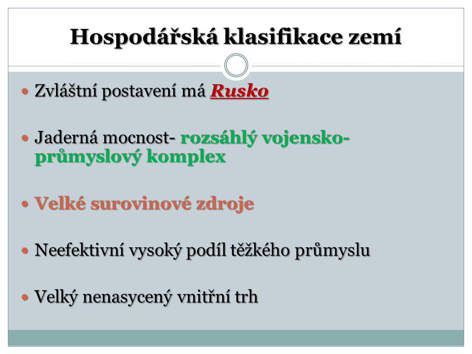 Hospodářská klasifikace zemí Zvláštní postavení má Rusko Zvláštní postavení má Rusko Jaderná mocnost- rozsáhlý vojensko- průmyslový komplex Jaderná mo