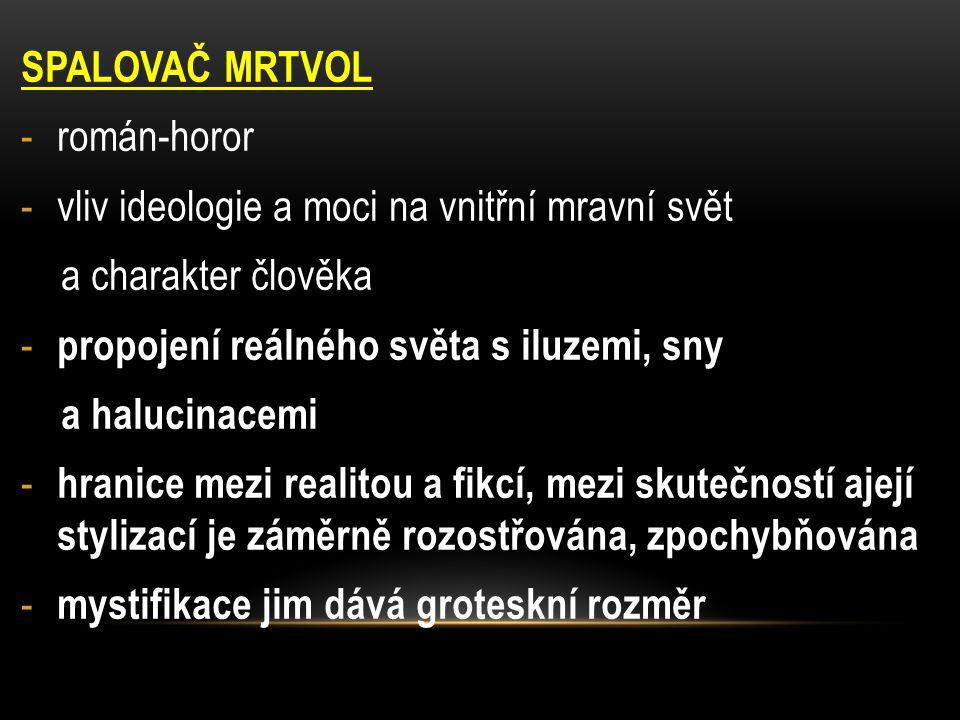SPALOVAČ MRTVOL -román-horor -vliv ideologie a moci na vnitřní mravní svět a charakter člověka - propojení reálného světa s iluzemi, sny a halucinacem