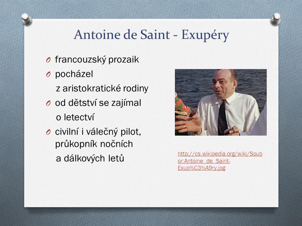 Antoine de Saint - Exupéry O létal na afrických i transatlantických linkách v Severní a Jižní Americe O několikrát havaroval O zahynul za 2.