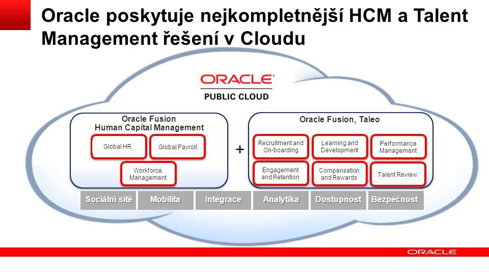 + Oracle poskytuje nejkompletnější HCM a Talent Management řešení v Cloudu Oracle Fusion, Taleo Oracle Fusion Human Capital Management Global HR Workf