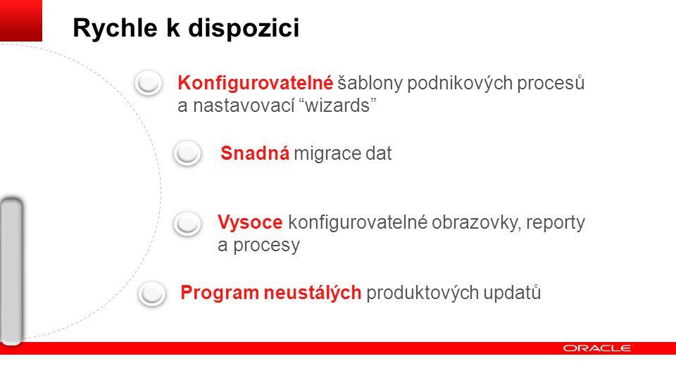 """Konfigurovatelné šablony podnikových procesů a nastavovací """"wizards"""" Snadná migrace dat Vysoce konfigurovatelné obrazovky, reporty a procesy Program n"""