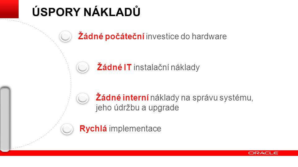 Žádné počáteční investice do hardware Žádné IT instalační náklady Žádné interní náklady na správu systému, jeho údržbu a upgrade Rychlá implementace ÚSPORY NÁKLADŮ