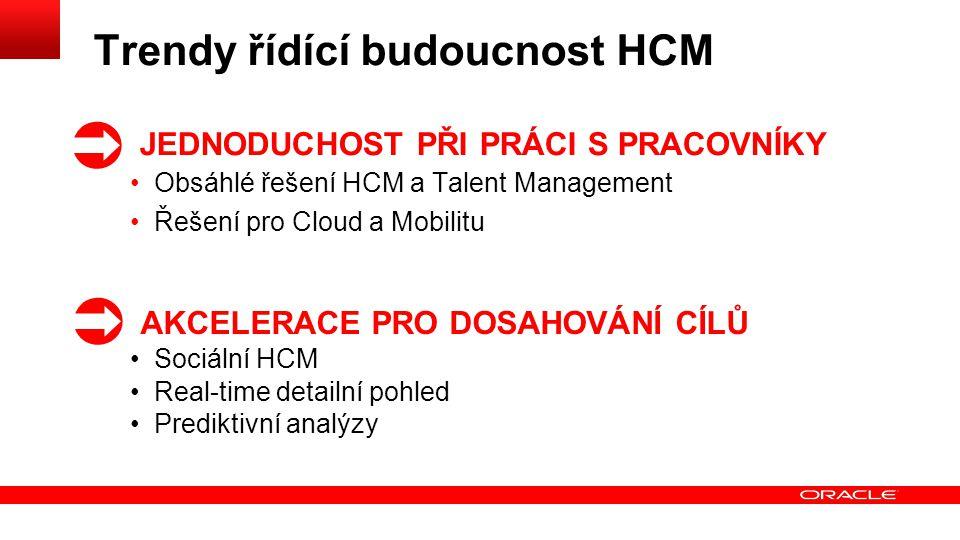 Trendy řídící budoucnost HCM JEDNODUCHOST PŘI PRÁCI S PRACOVNÍKY Obsáhlé řešení HCM a Talent Management Řešení pro Cloud a Mobilitu AKCELERACE PRO DOSAHOVÁNÍ CÍLŮ Sociální HCM Real-time detailní pohled Prediktivní analýzy