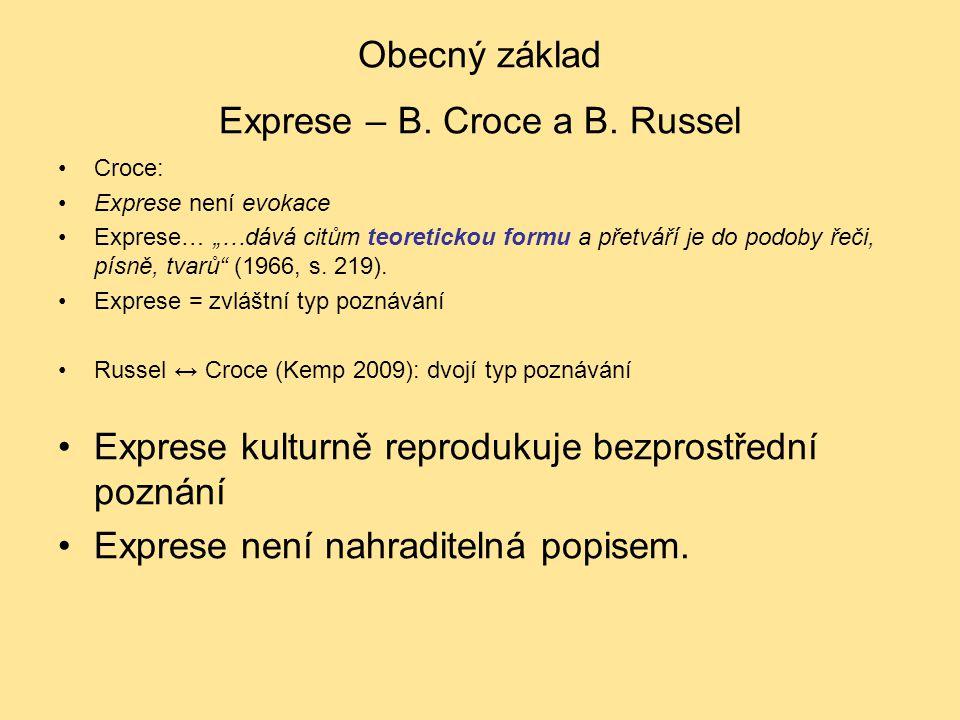 """Obecný základ Exprese – B. Croce a B. Russel Croce: Exprese není evokace Exprese… """"…dává citům teoretickou formu a přetváří je do podoby řeči, písně,"""