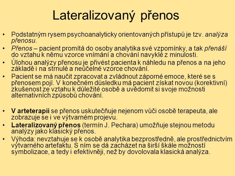 Lateralizovaný přenos Podstatným rysem psychoanalyticky orientovaných přístupů je tzv. analýza přenosu. Přenos – pacient promítá do osoby analytika sv