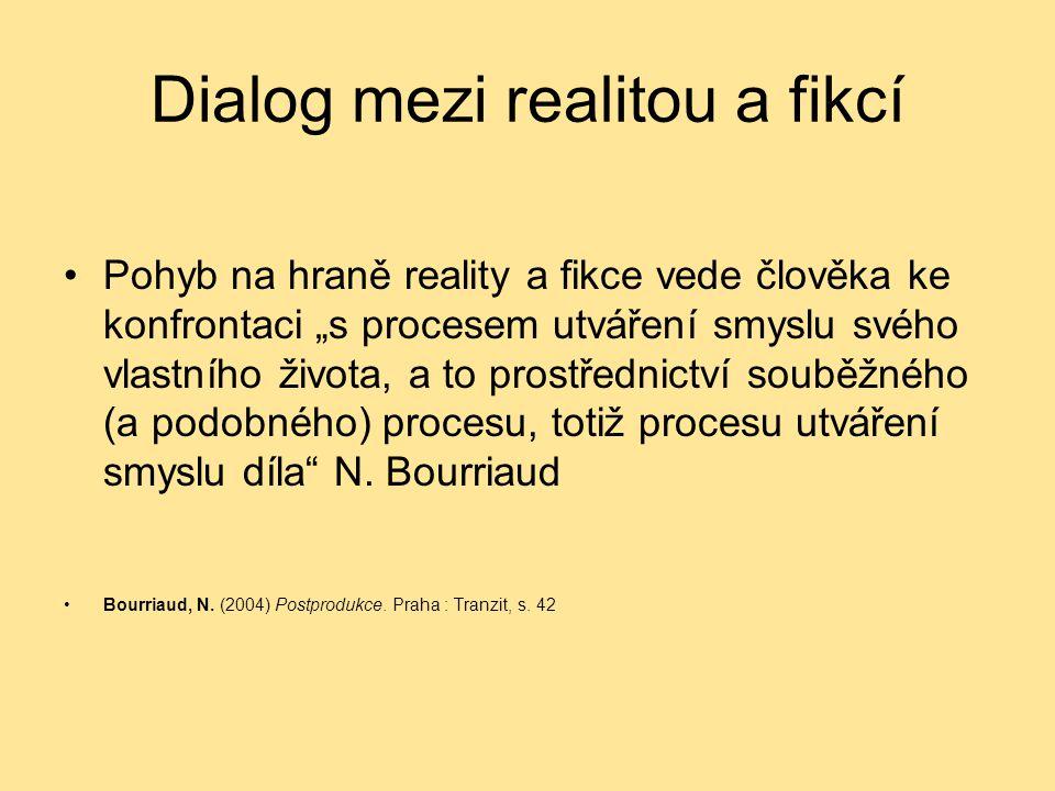 """Dialog mezi realitou a fikcí Pohyb na hraně reality a fikce vede člověka ke konfrontaci """"s procesem utváření smyslu svého vlastního života, a to prost"""