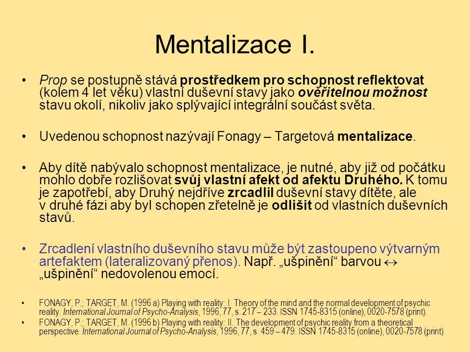 Mentalizace I. Prop se postupně stává prostředkem pro schopnost reflektovat (kolem 4 let věku) vlastní duševní stavy jako ověřitelnou možnost stavu ok