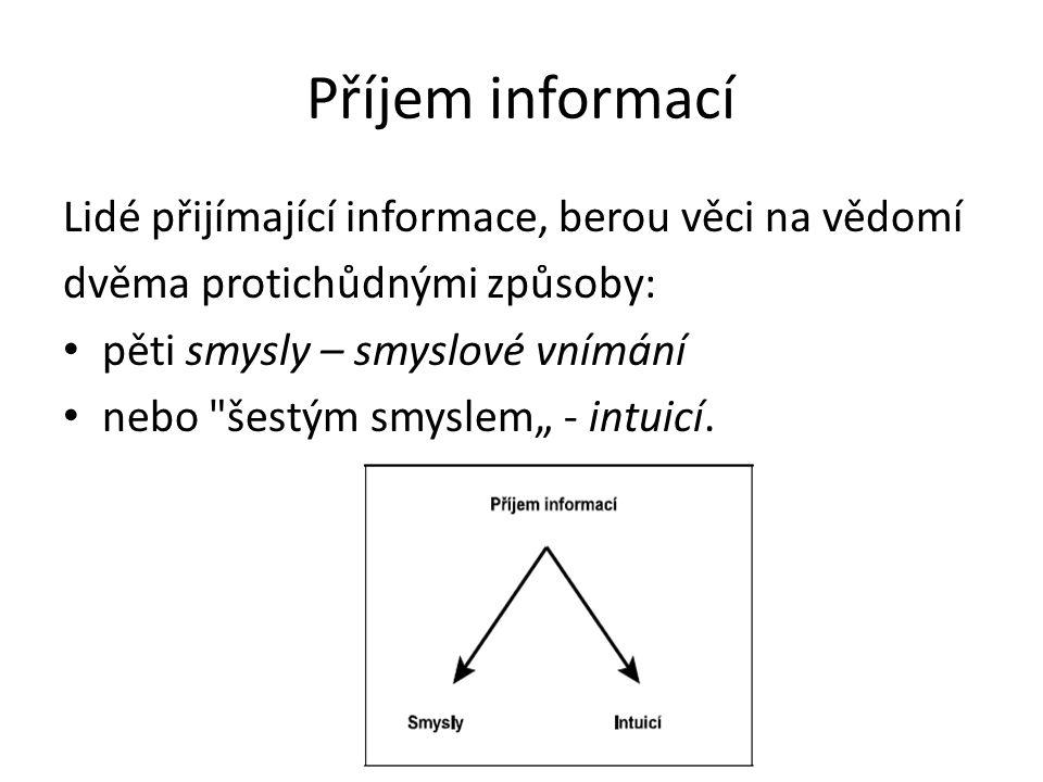 """Příjem informací Lidé přijímající informace, berou věci na vědomí dvěma protichůdnými způsoby: pěti smysly – smyslové vnímání nebo šestým smyslem"""" - intuicí."""