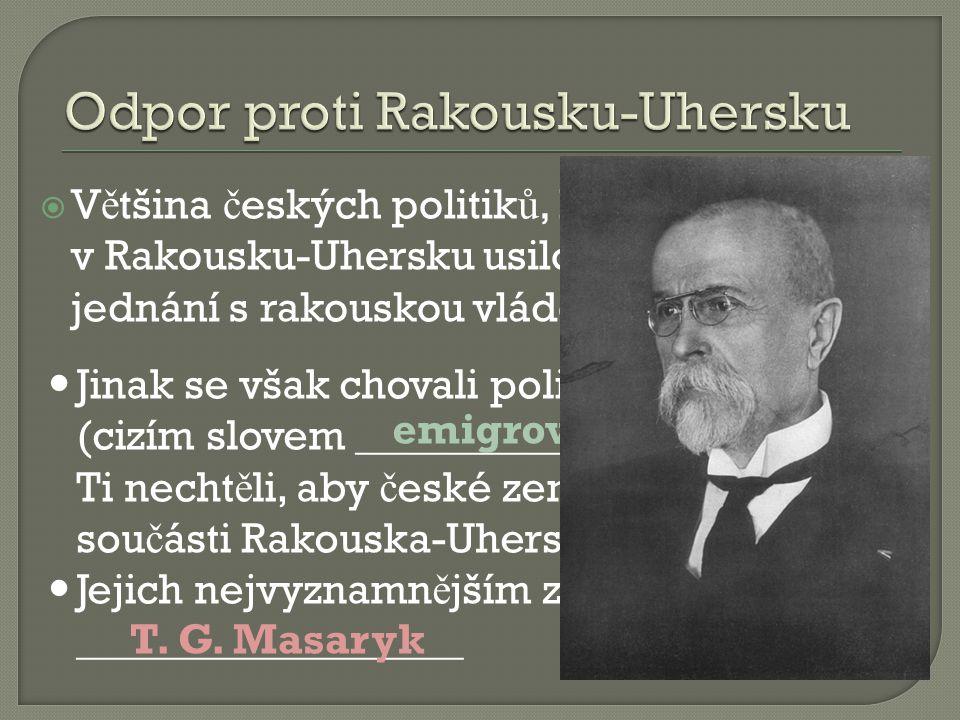  V ě tšina č eských politik ů, kte ř í z ů stali v Rakousku-Uhersku usilovali o smírná jednání s rakouskou vládou.