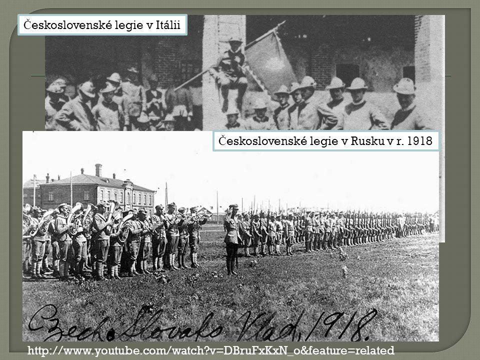 Č eskoslovenské legie v Itálii Č eskoslovenské legie v Rusku v r.