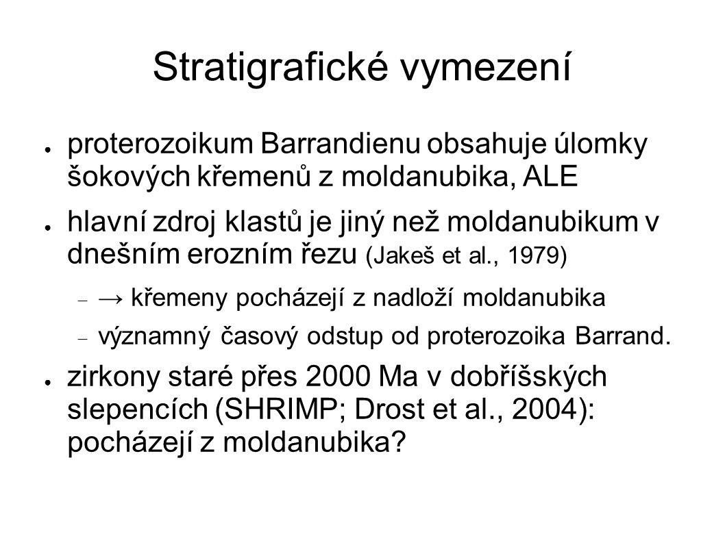 Stratigrafické vymezení ● proterozoikum Barrandienu obsahuje úlomky šokových křemenů z moldanubika, ALE ● hlavní zdroj klastů je jiný než moldanubikum