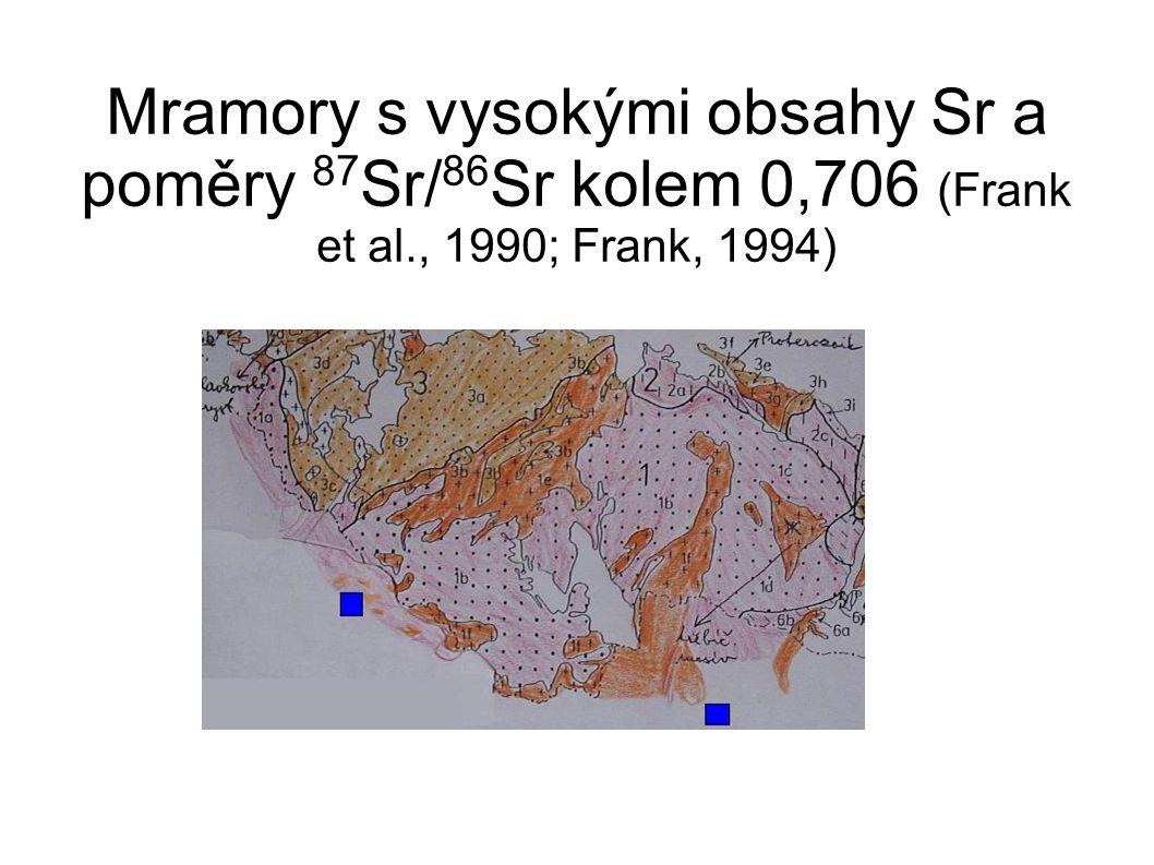 Mramory s vysokými obsahy Sr a poměry 87 Sr/ 86 Sr kolem 0,706 (Frank et al., 1990; Frank, 1994)