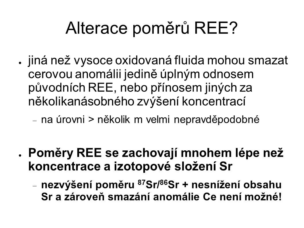 Alterace poměrů REE? ● jiná než vysoce oxidovaná fluida mohou smazat cerovou anomálii jedině úplným odnosem původních REE, nebo přínosem jiných za něk