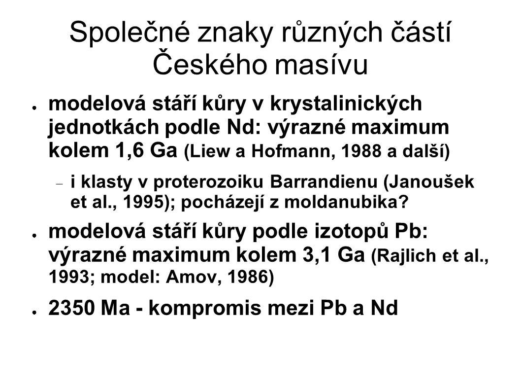 Společné znaky různých částí Českého masívu ● modelová stáří kůry v krystalinických jednotkách podle Nd: výrazné maximum kolem 1,6 Ga (Liew a Hofmann,
