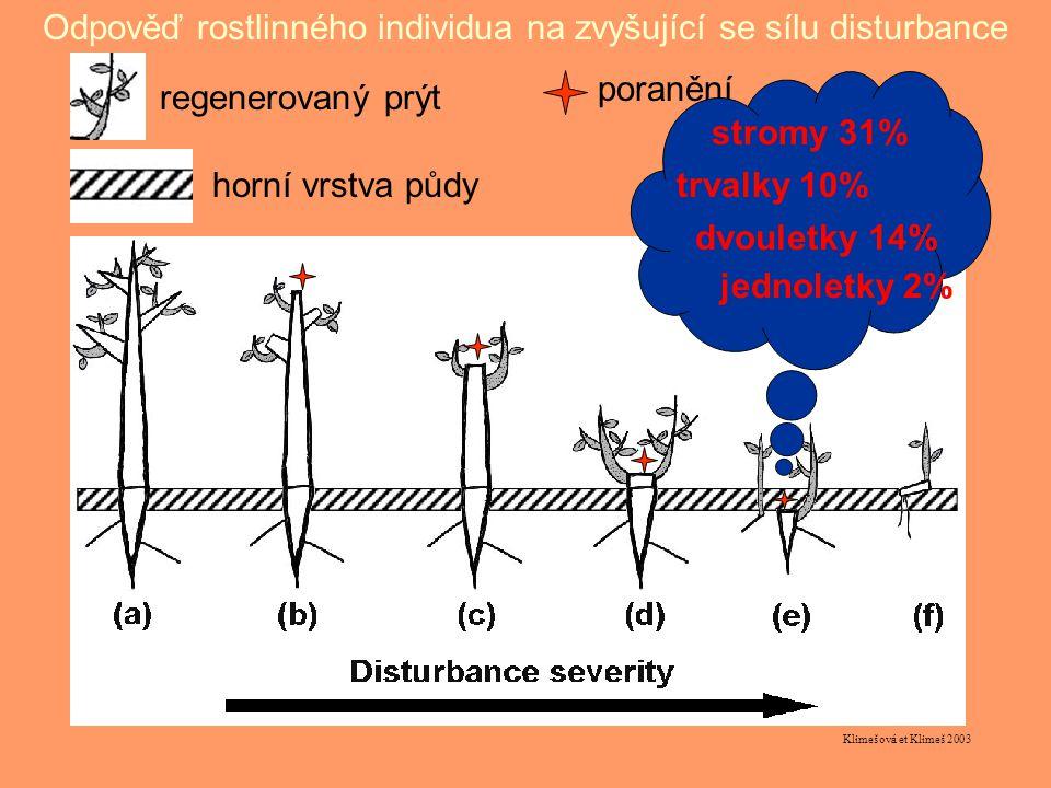 Klimešová et Klimeš 2003 Odpověď rostlinného individua na zvyšující se sílu disturbance regenerovaný prýt poranění horní vrstva půdy stromy 31% trvalky 10% dvouletky 14% jednoletky 2%