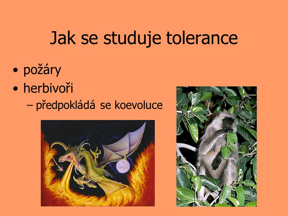 Jak se studuje tolerance požáry herbivoři –předpokládá se koevoluce