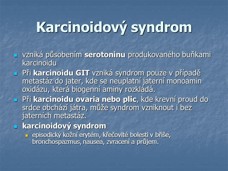 Karcinoidový syndrom vzniká působením serotoninu produkovaného buňkami karcinoidu vzniká působením serotoninu produkovaného buňkami karcinoidu Při kar