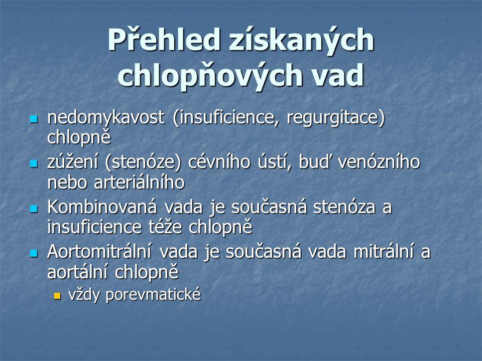 Přehled získaných chlopňových vad nedomykavost (insuficience, regurgitace) chlopně nedomykavost (insuficience, regurgitace) chlopně zúžení (stenóze) c