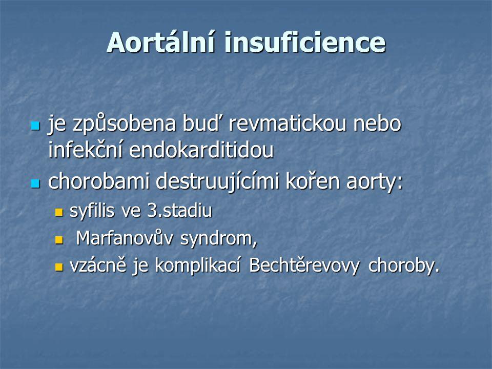Aortální insuficience je způsobena buď revmatickou nebo infekční endokarditidou je způsobena buď revmatickou nebo infekční endokarditidou chorobami de