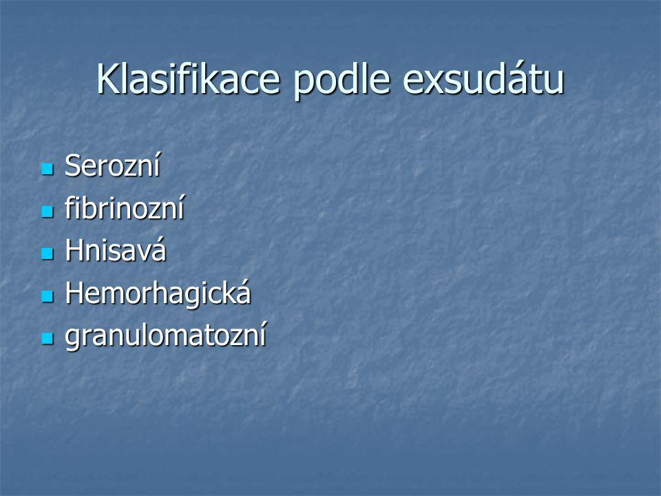 Klasifikace podle exsudátu Serozní Serozní fibrinozní fibrinozní Hnisavá Hnisavá Hemorhagická Hemorhagická granulomatozní granulomatozní